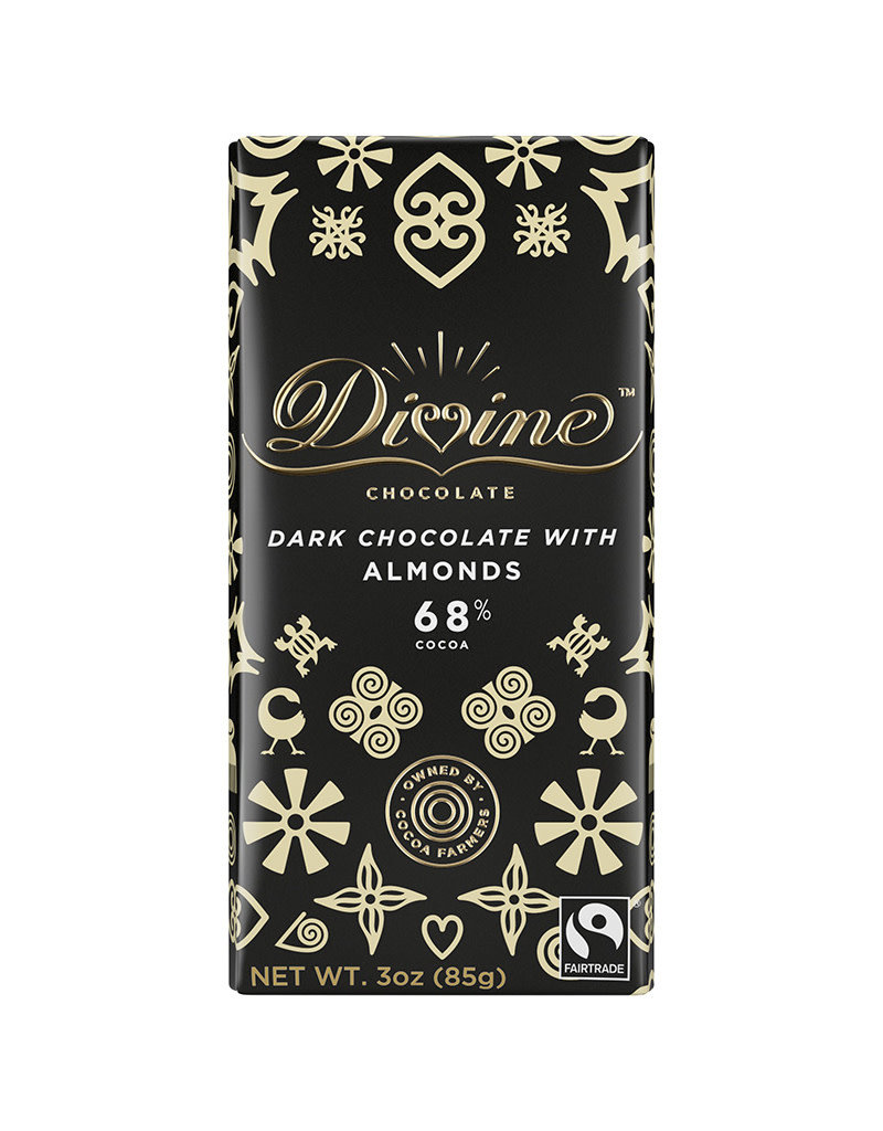 Divine Chocolate Dark Chocolate Bar with  Almonds