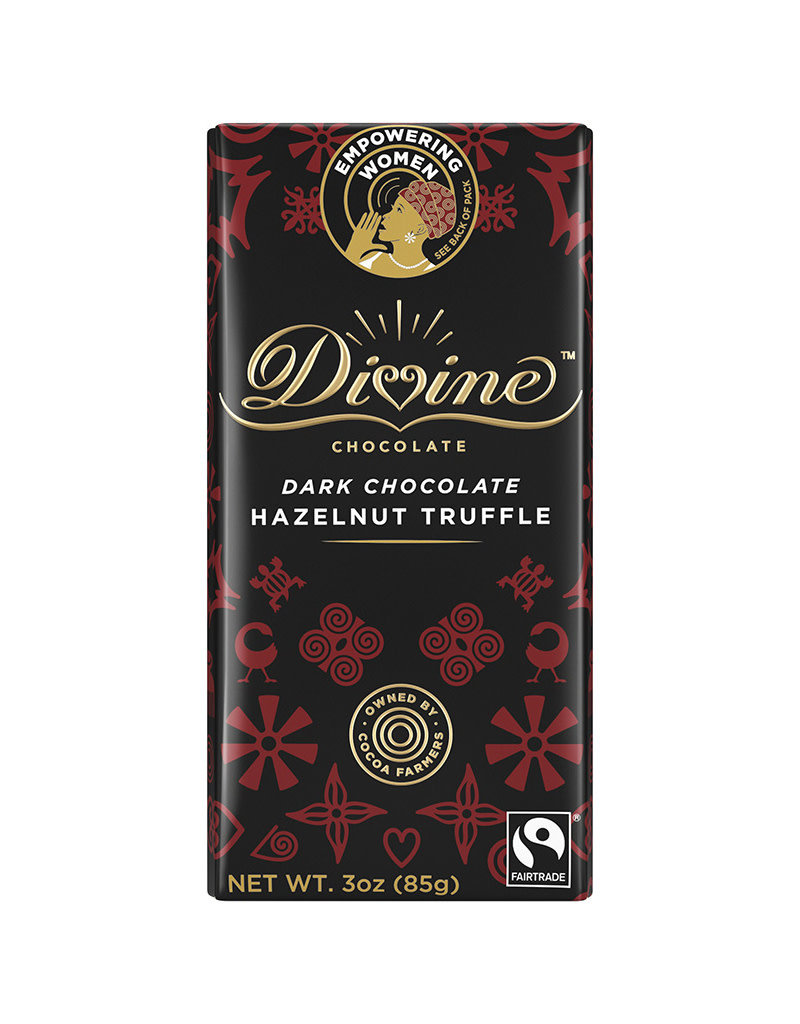 Divine Chocolate Dark Chocolate Bar  with Hazelnut Truffle
