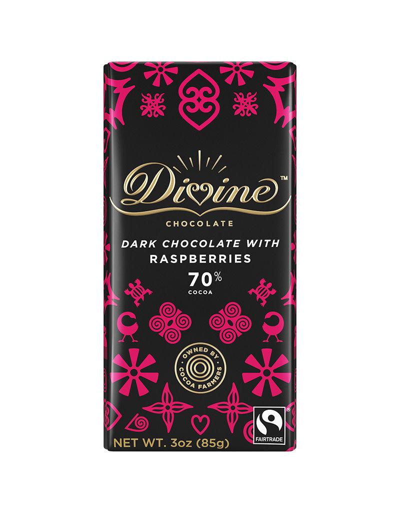 Divine Chocolate Dark Chocolate Bar with Raspberry