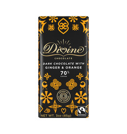 Divine Chocolate Dark Chocolate Bar with Ginger & Orange
