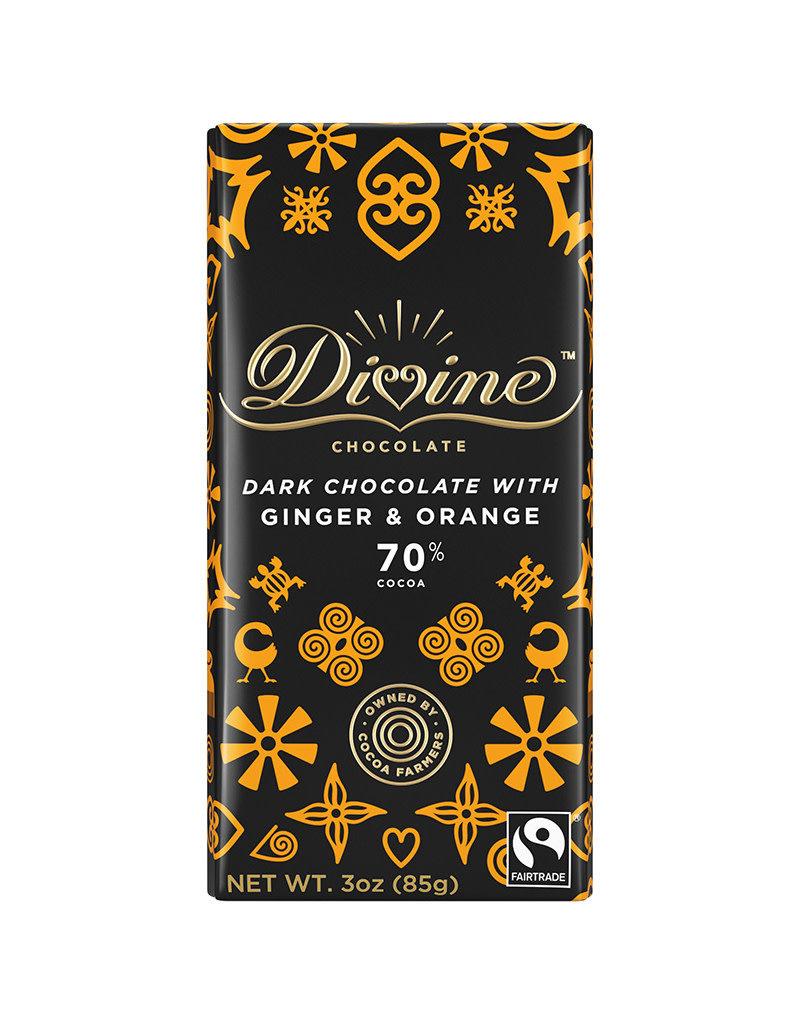 Divine Chocolate Dark Chocolate Bar with Ginger & Orange