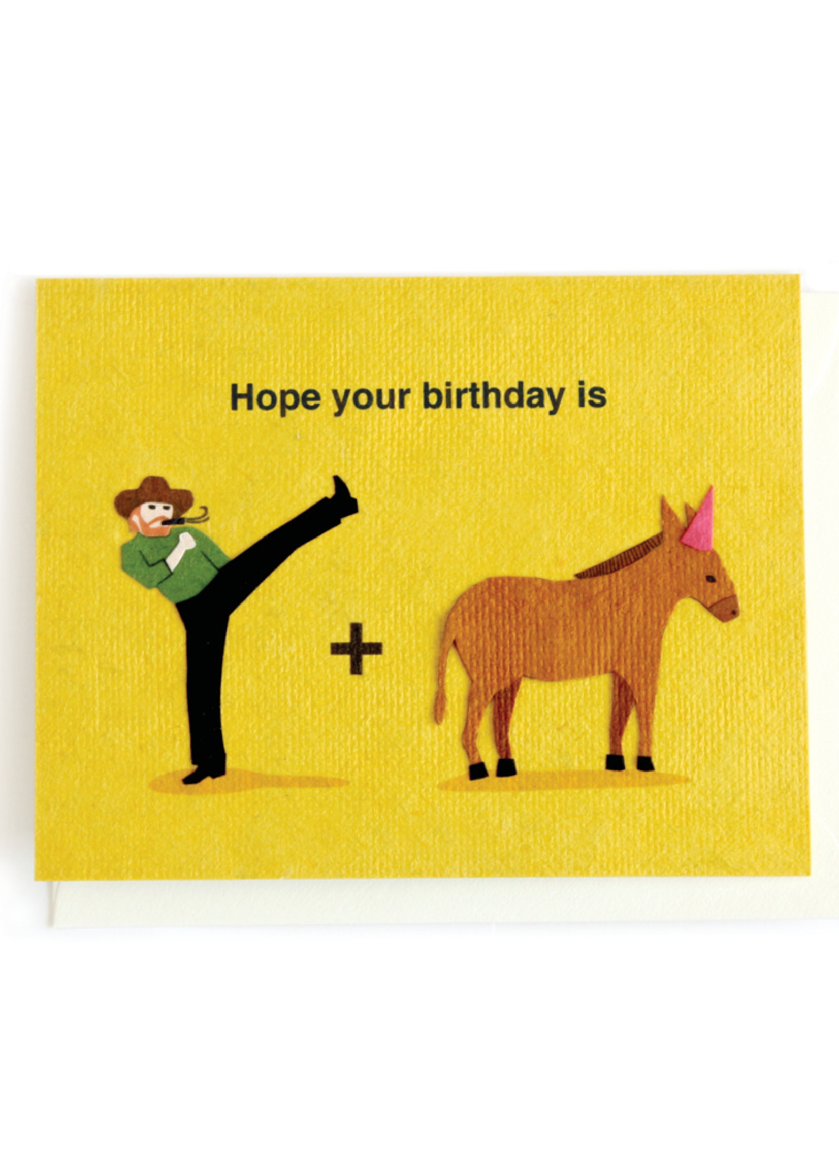 Good Paper Kick Donkey Birthday Card