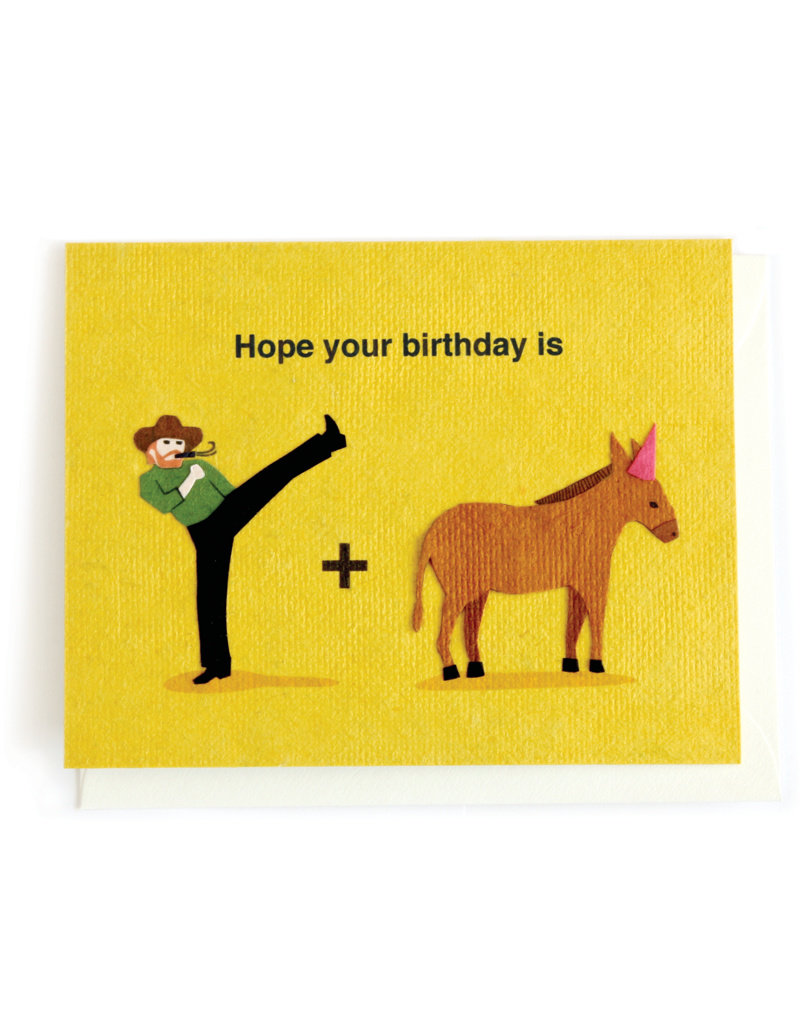 Good Paper Kick Donkey Birthday Card