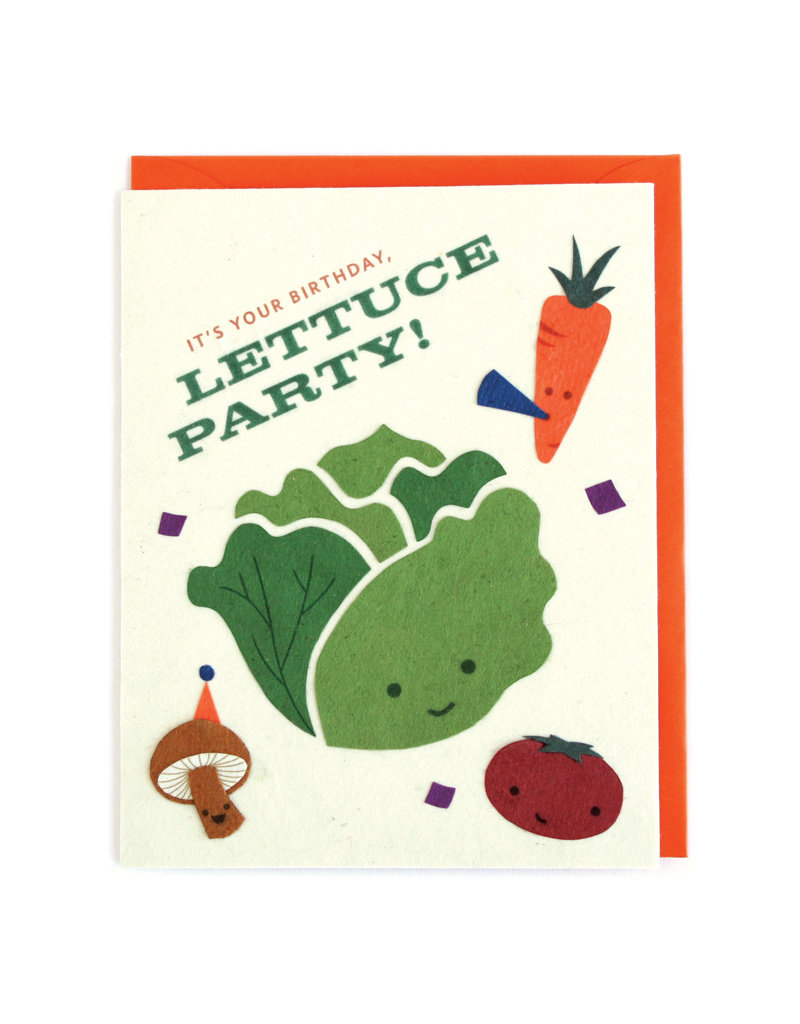 Good Paper Lettuce Party Birthday Card