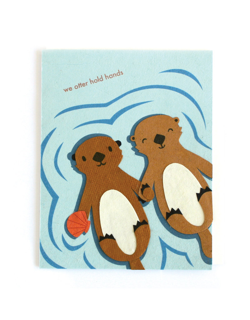 Good Paper Otter Hold Hands Card