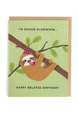 Good Paper Sloth Belated Birthday Card