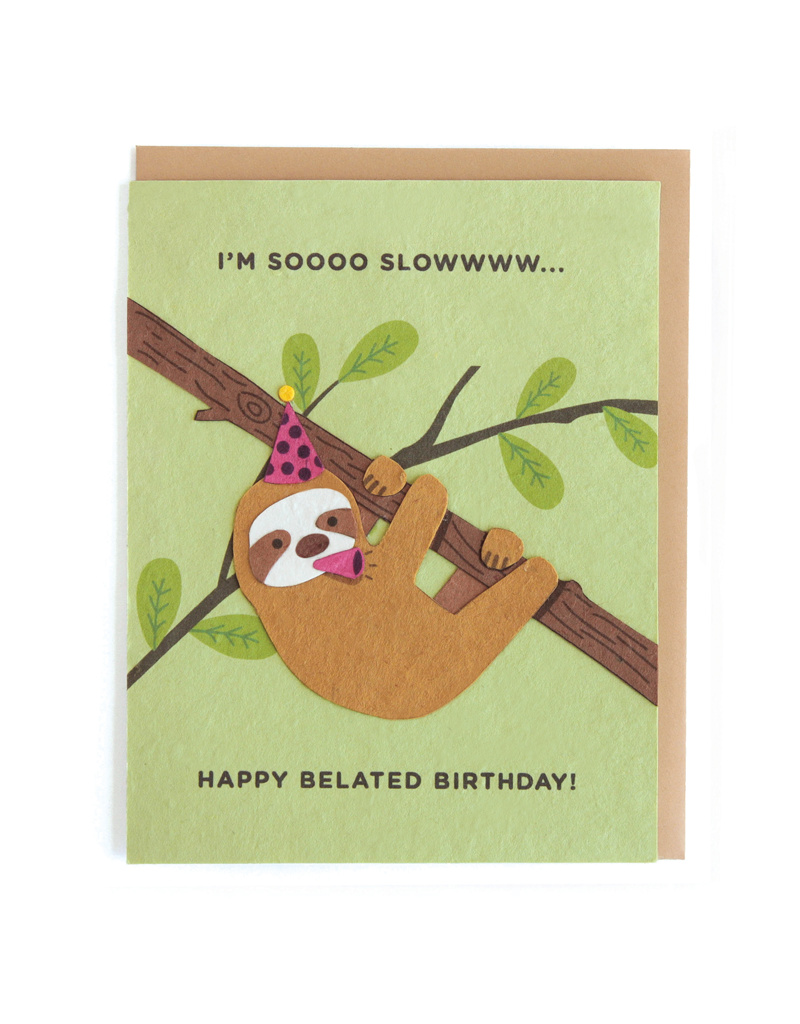 Sloth Belated Birthday Card from HumanKind Fair Trade