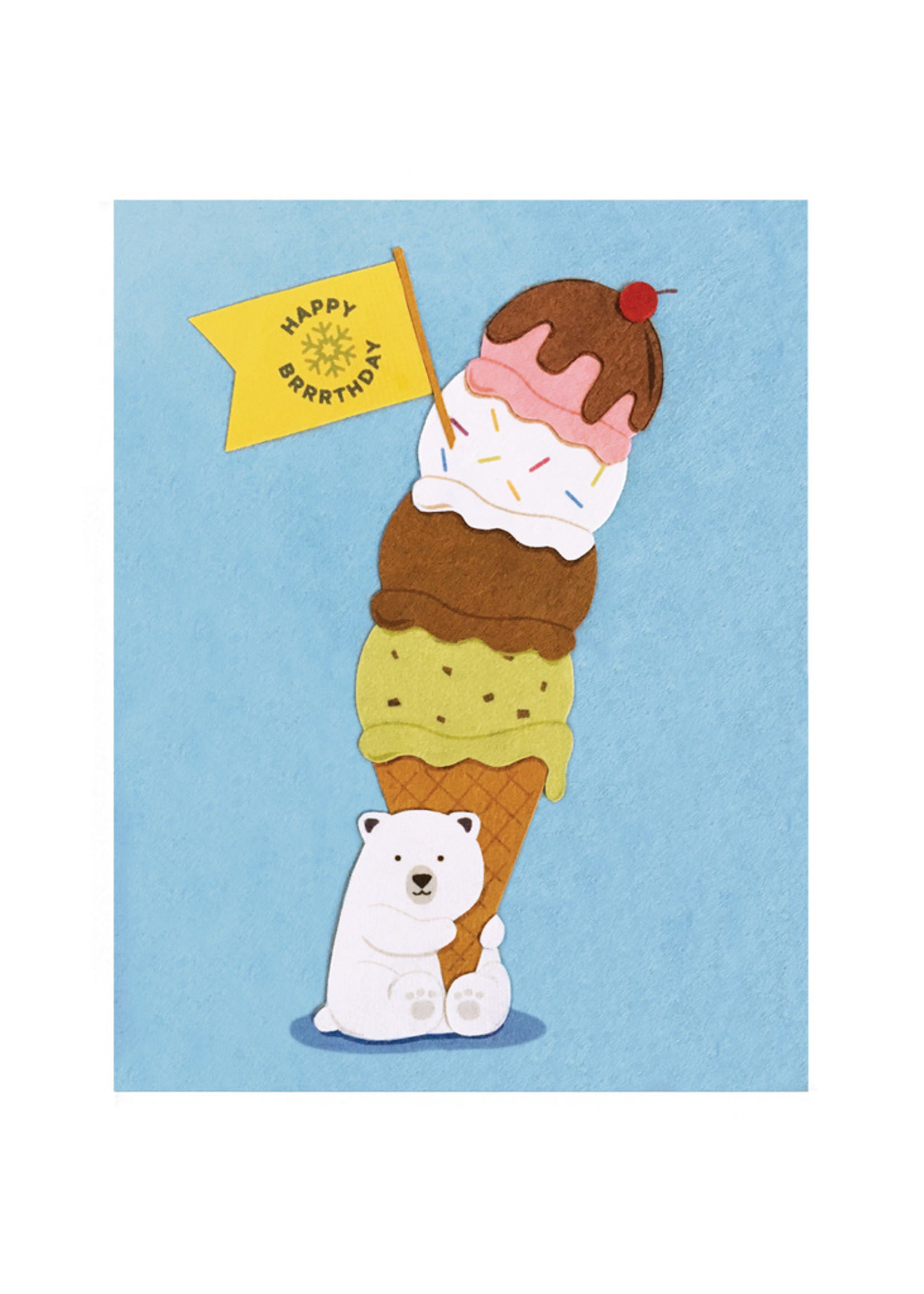 Good Paper Polar Bear Birthday Card