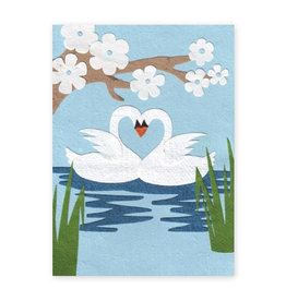 Good Paper Swans In Love Card