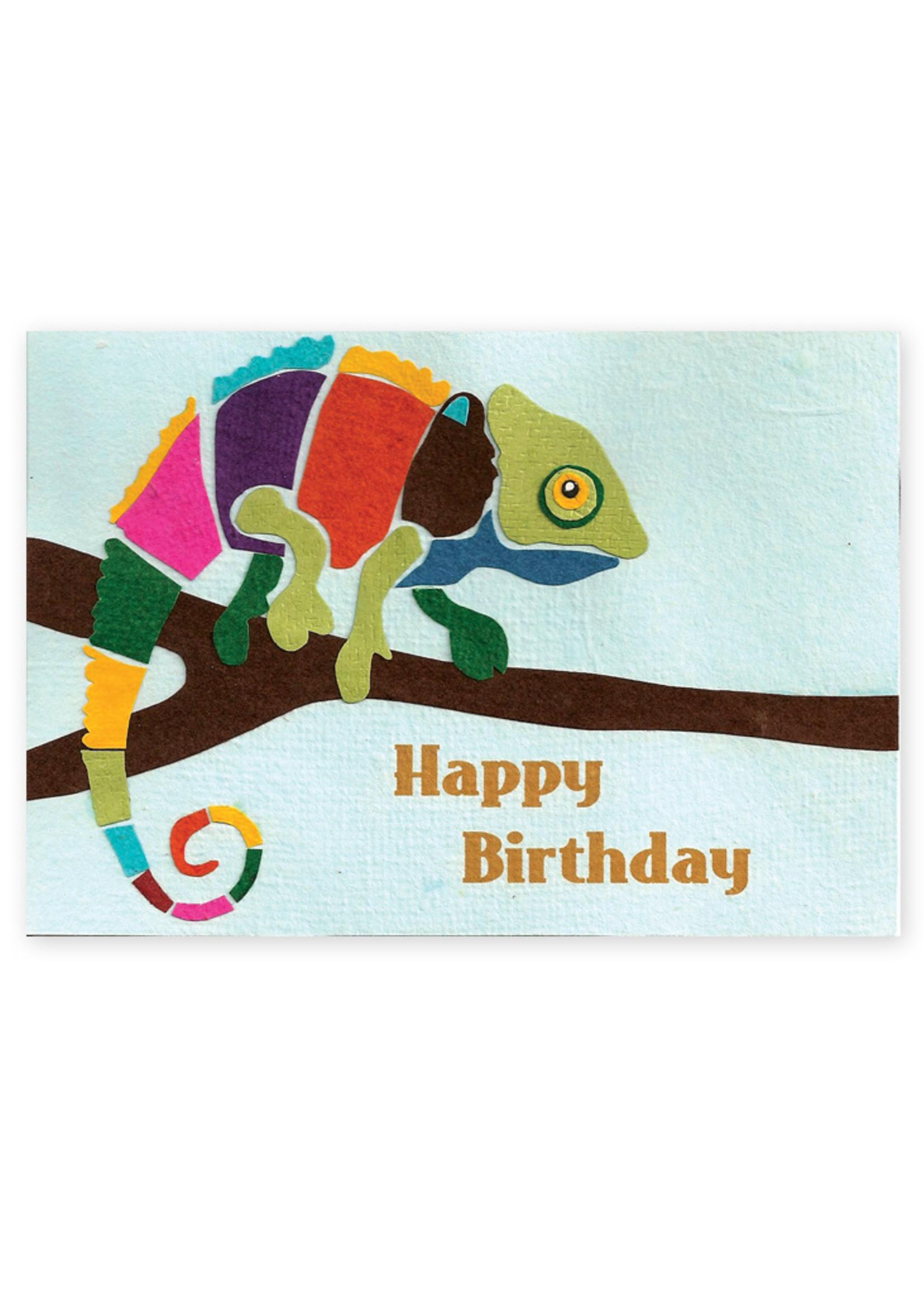 Good Paper Chameleon Birthday Card
