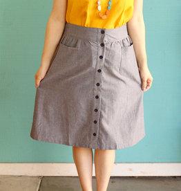 Passion Lilie Chambray Ikat Midi Skirt