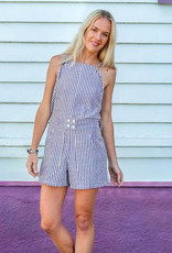 Passion Lilie Blue & White Pinstripe Ikat Jumpsuit