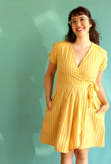Passion Lilie Sunny Yellow Ikat Wrap Dress