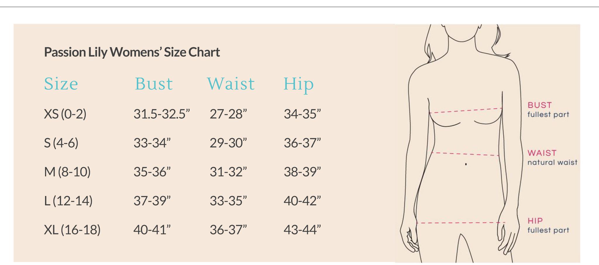 Passion Lilie Size Chart