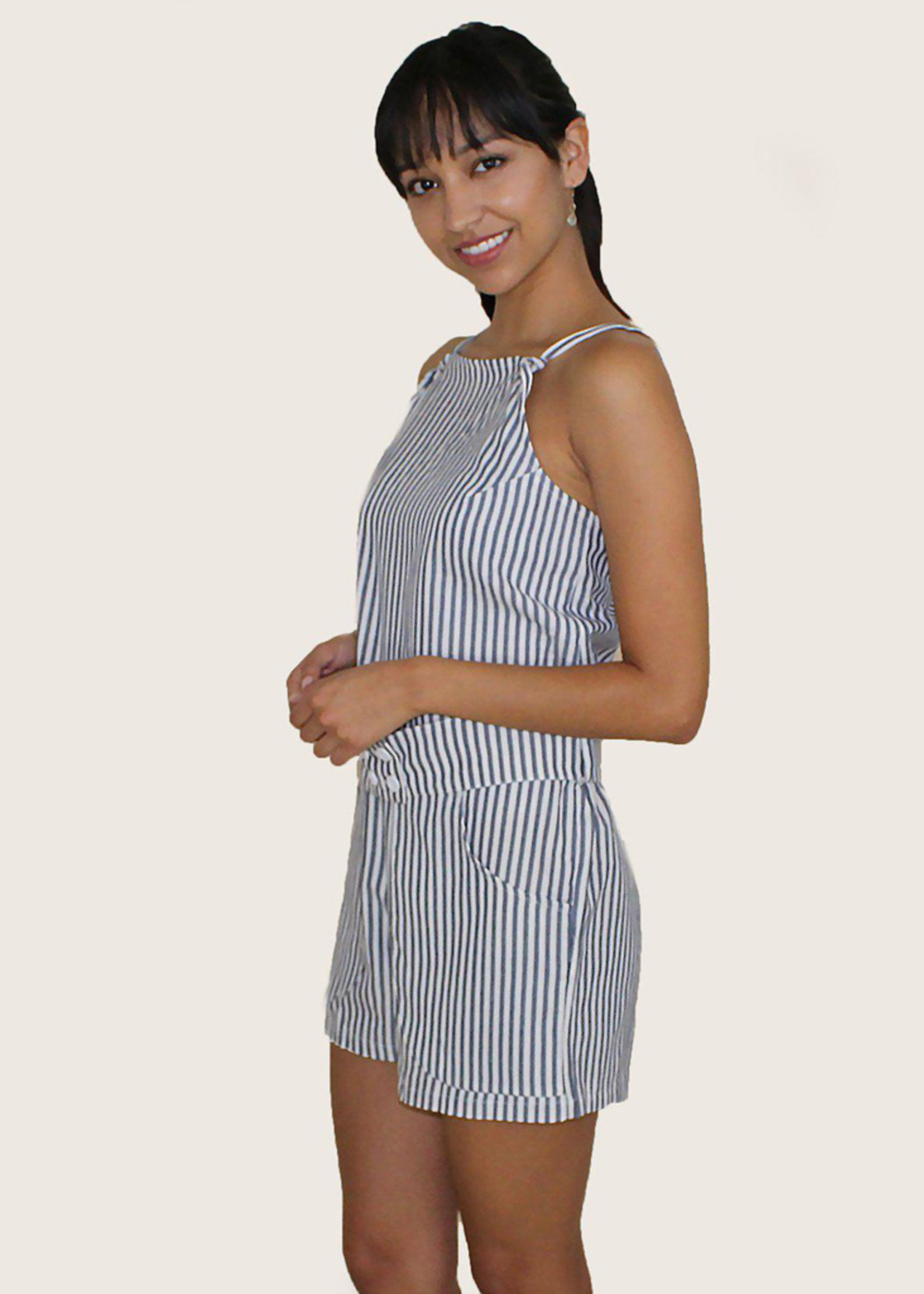 Passion Lilie FINAL SALE Blue & White Pinstripe Ikat Jumpsuit
