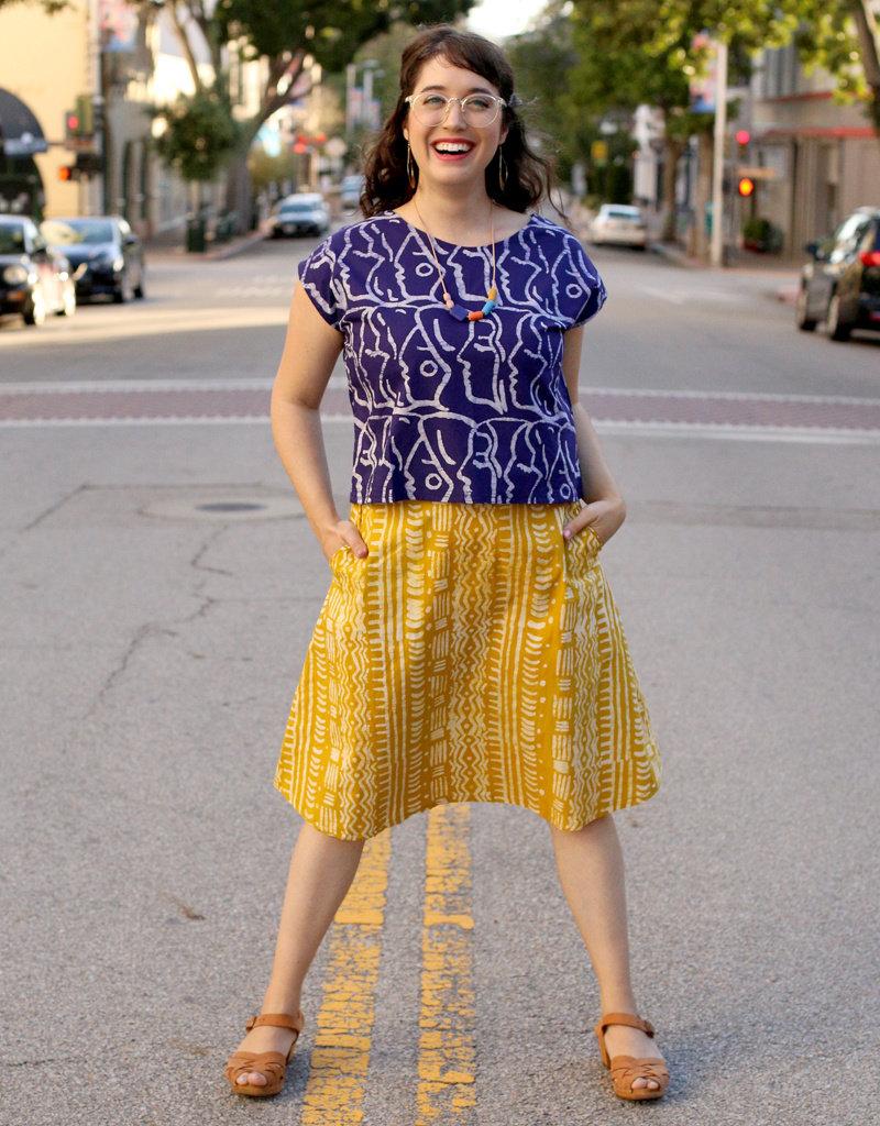 Global Mamas Mustard Pathways Volta Skirt