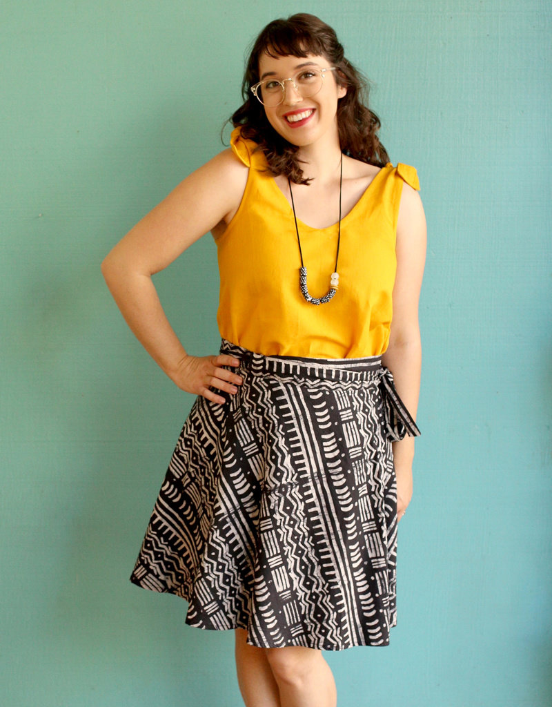 Global Mamas Black Pathways Wrap Skirt