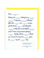 Good Paper Mad Lib Birthday Card