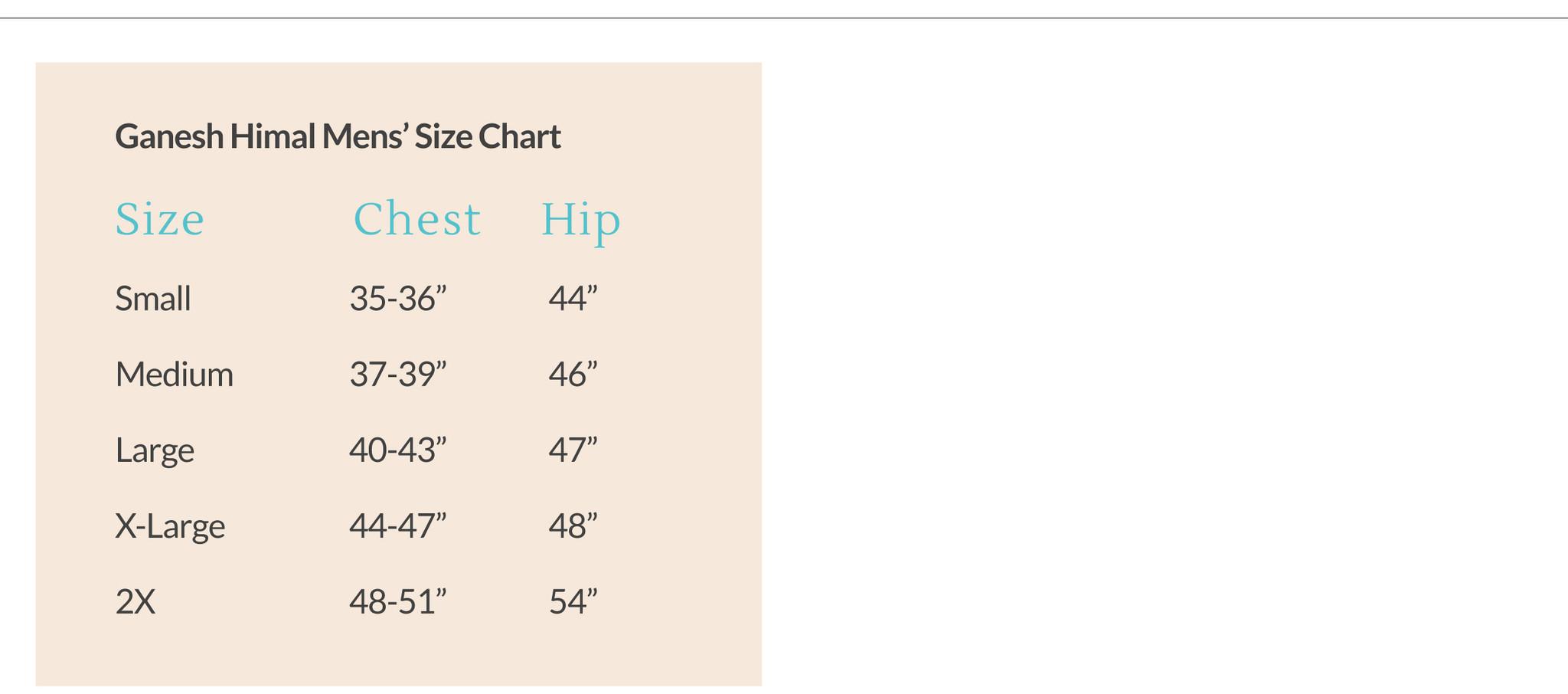 Ganesh Himal Men's Size Chart