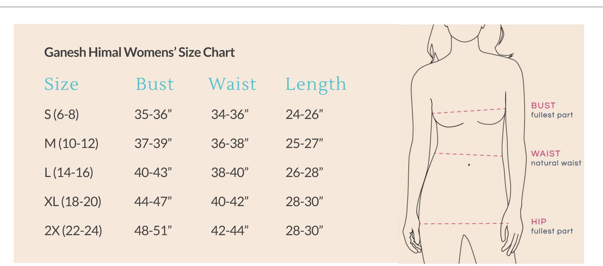 Ganesh Himal Size Chart