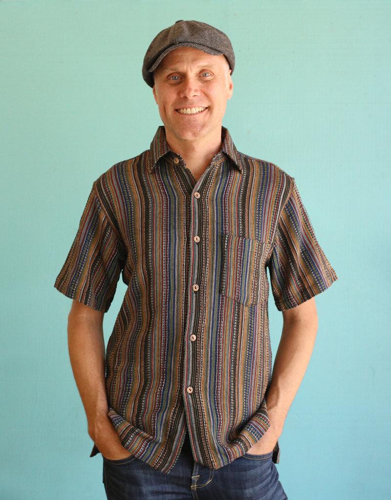 Ganesh Himal Black Honeycomb Stripe Shirt