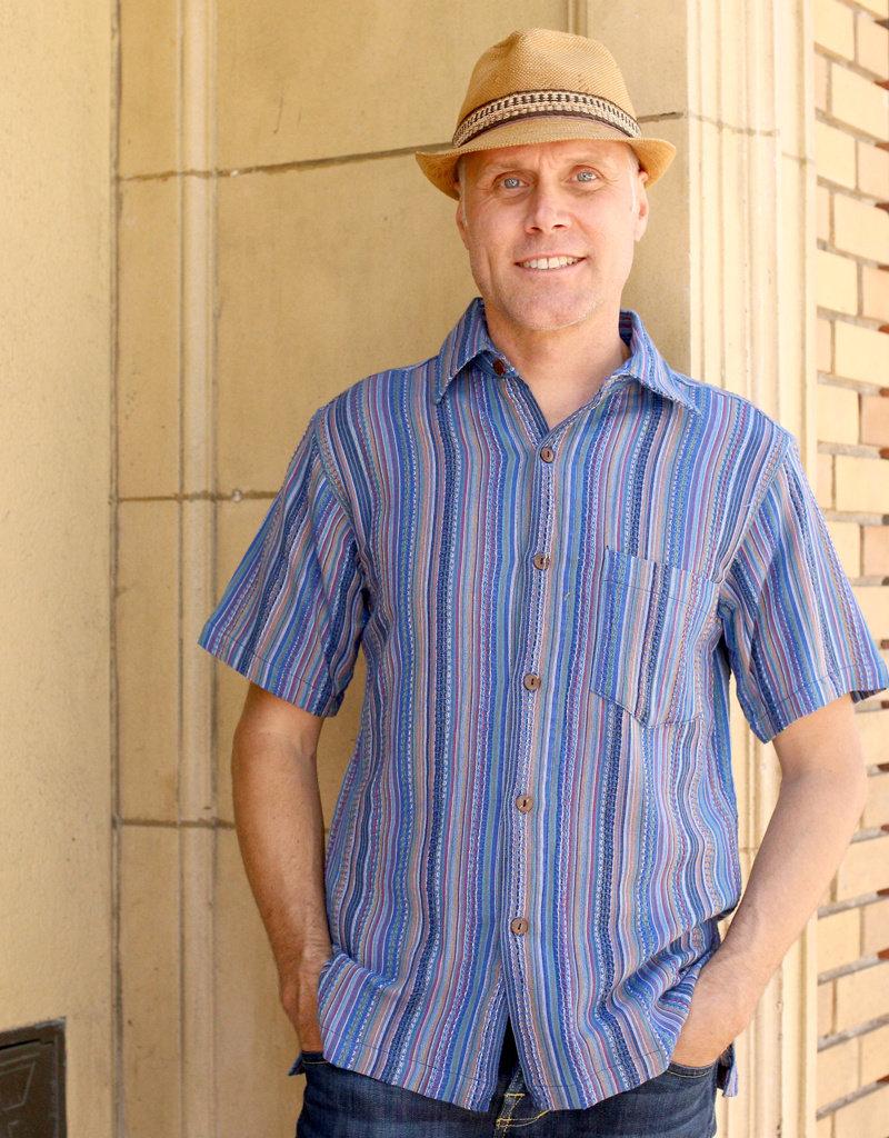 Ganesh Himal Blue Honeycomb Stripe Shirt