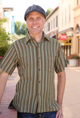 Ganesh Himal Green Honeycomb Stripe Shirt