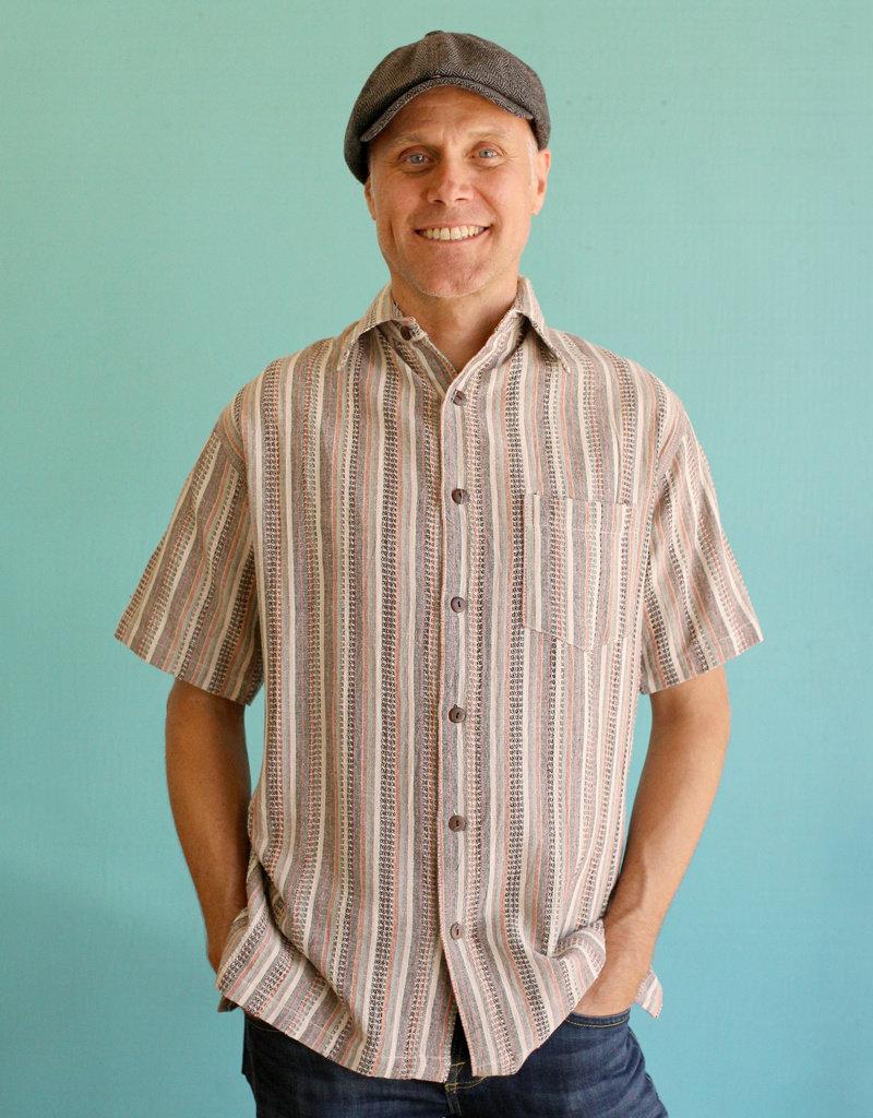 Ganesh Himal Cream Honeycomb Stripe Shirt