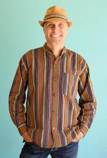 Ganesh Himal Autumn Stripe Mandarin Shirt