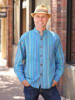 Ganesh Himal Turquoise Stripe Mandarin Shirt