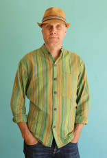 Ganesh Himal Green Stripe Mandarin Shirt