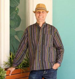 Ganesh Himal Navy/Sage Stripe Mandarin Shirt