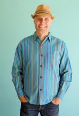 Ganesh Himal Turquoise Stripe Shirt