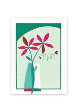 Good Paper Flower Vase for Mom Card