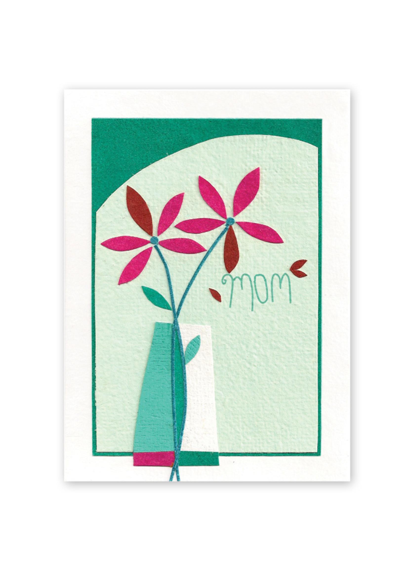 Good Paper Flower Vase for Mom Card