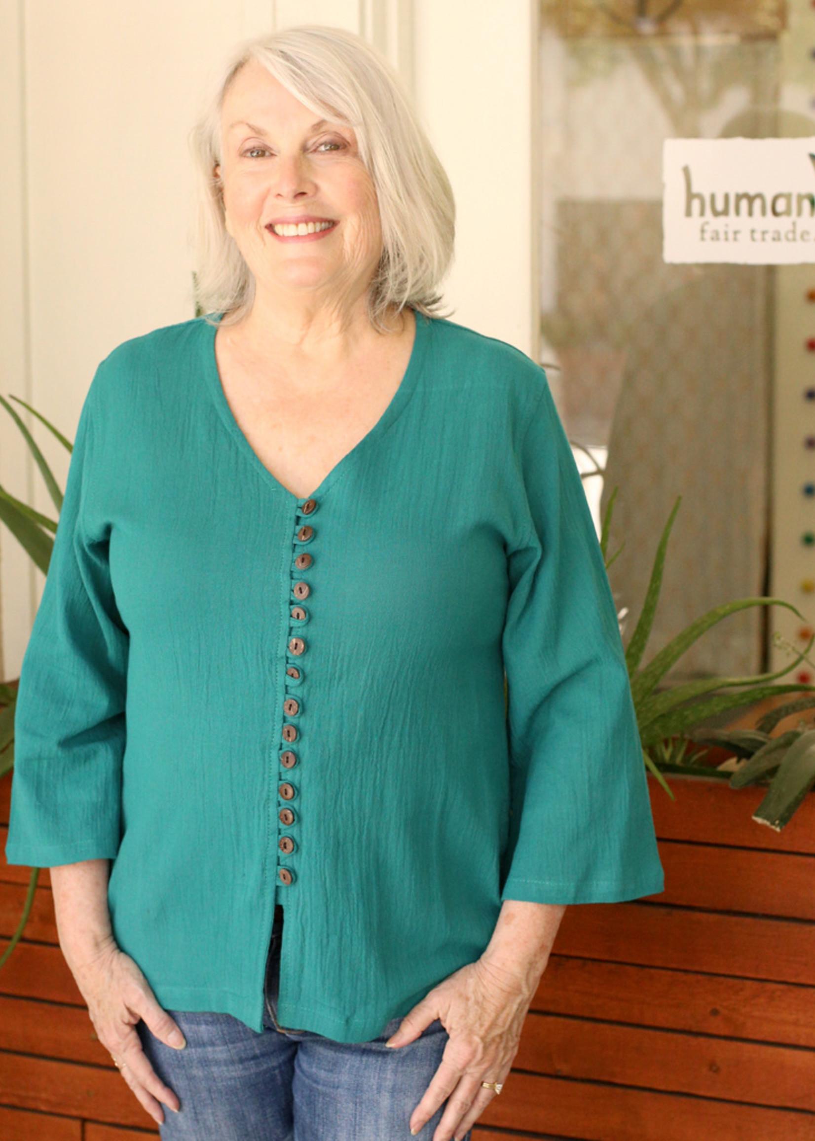 Ganesh Himal Aquamarine V-Neck Shirt