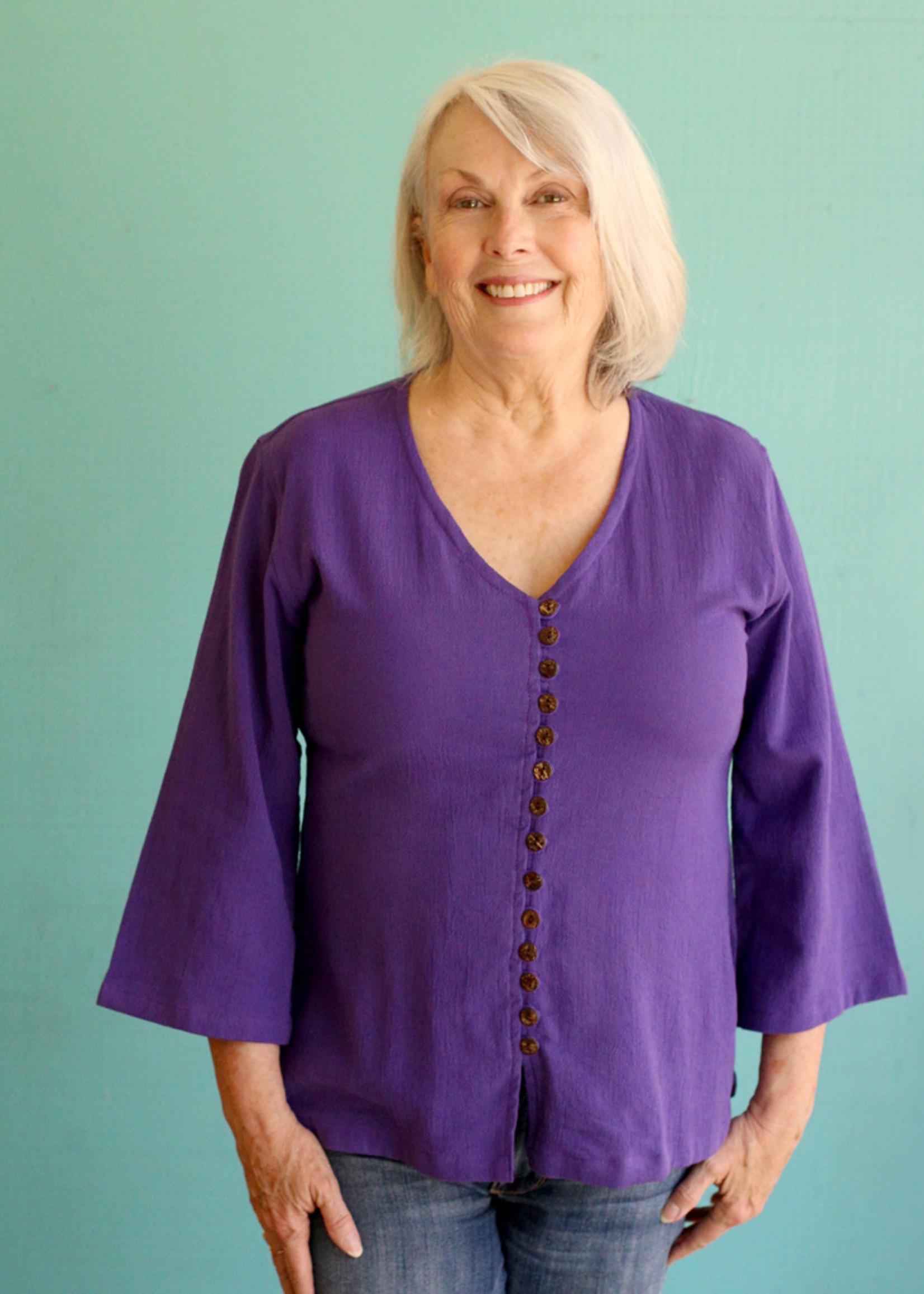 Ganesh Himal Purple V-Neck Shirt