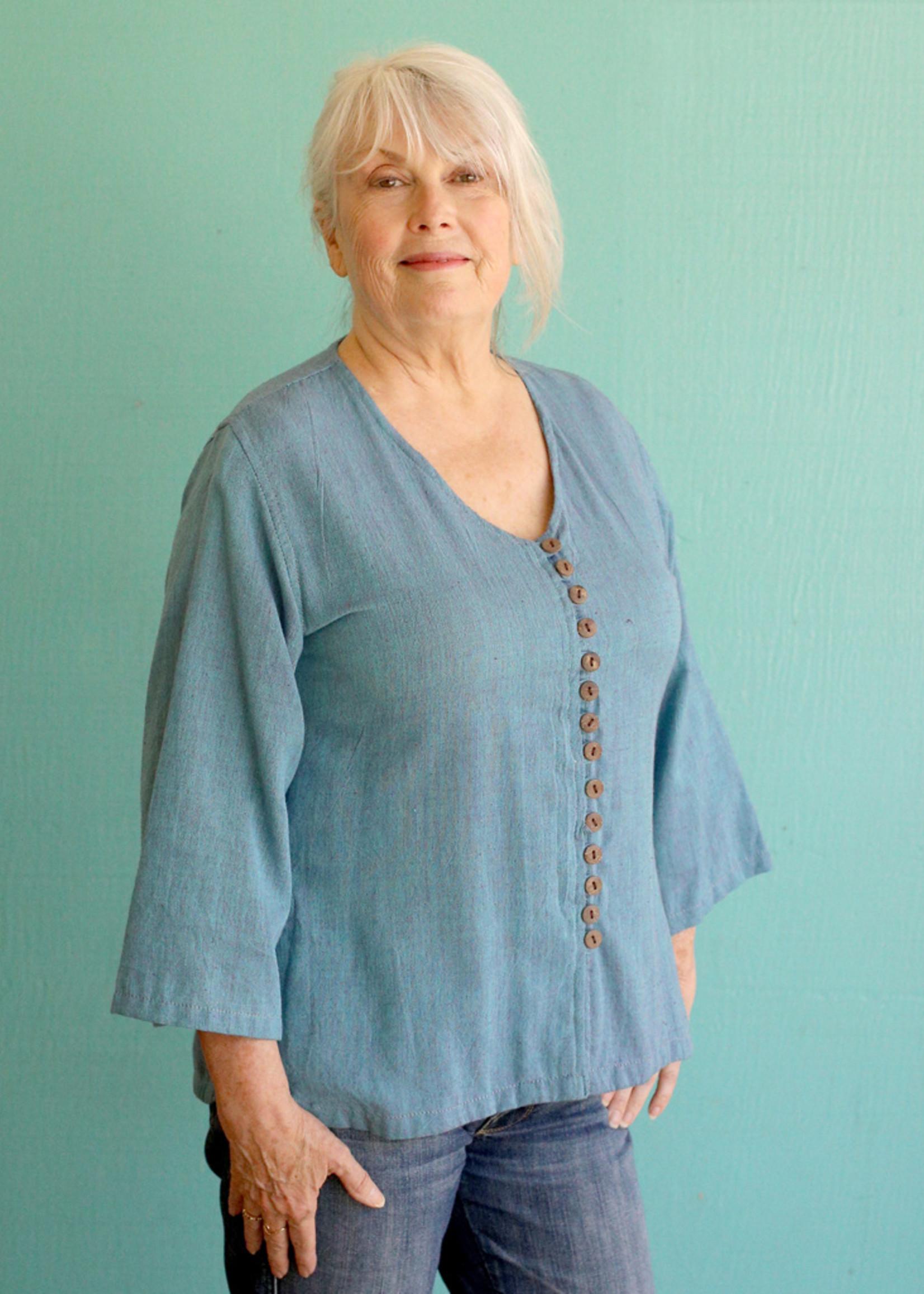 Ganesh Himal Blue V-neck Shirt