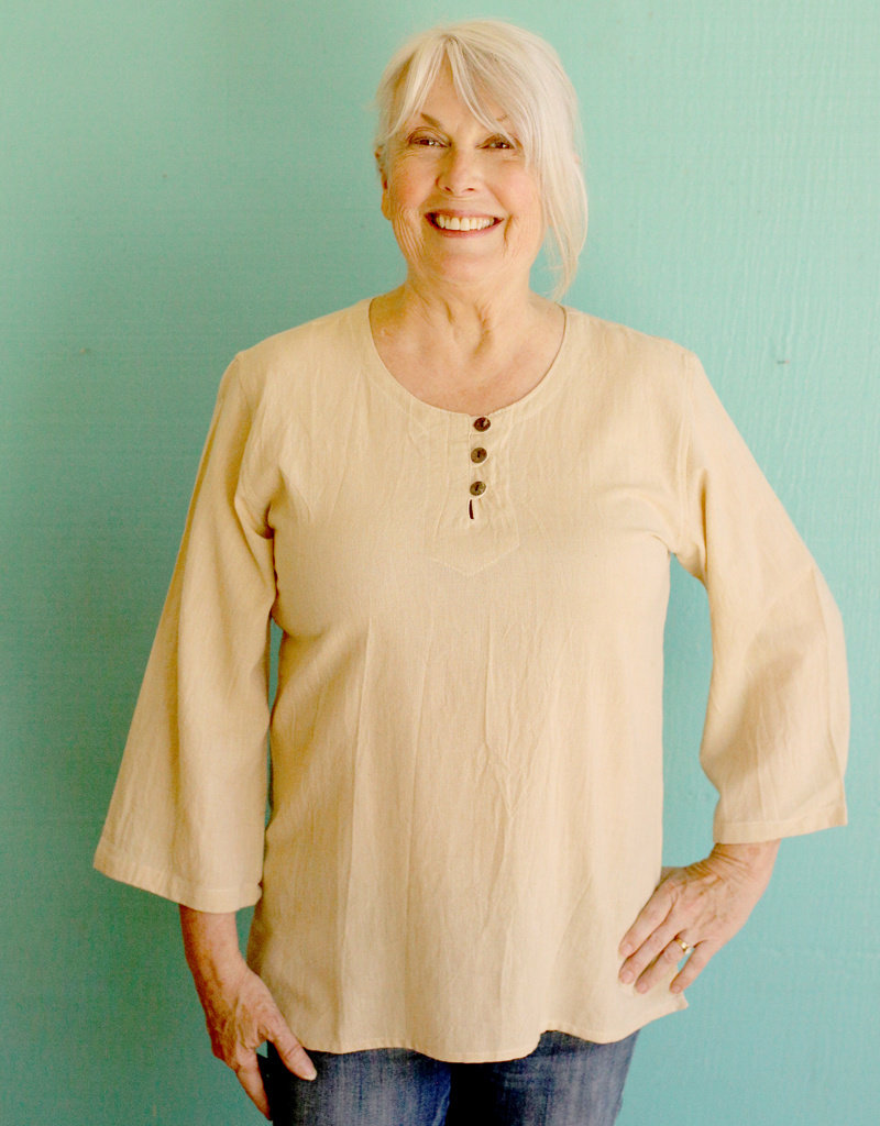 Ganesh Himal Cream 3 Button Shirt