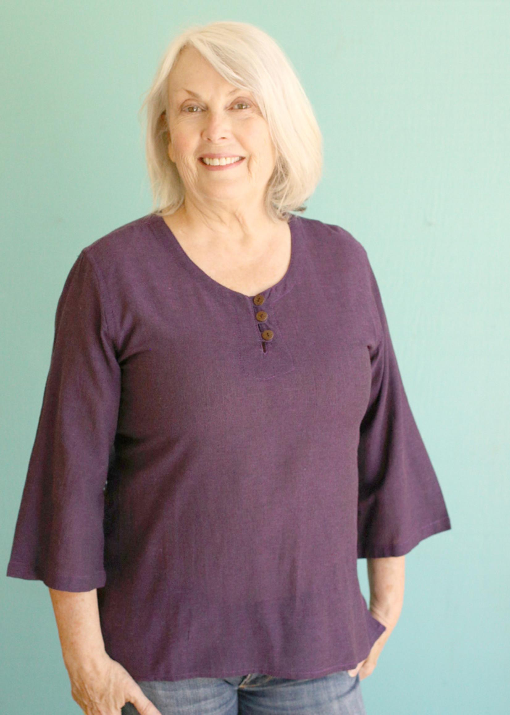 Ganesh Himal Purple 3 Button Shirt