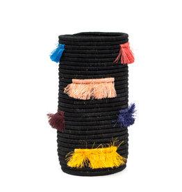 Kazi Black Neon Fringed Sisal Vase