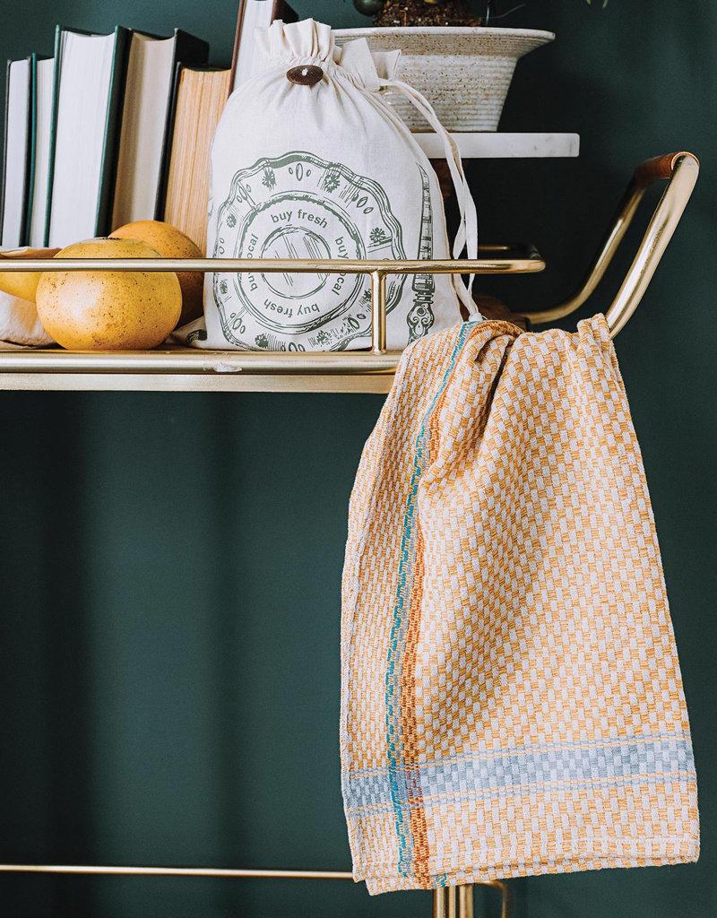 Checked Gold Tea Towel
