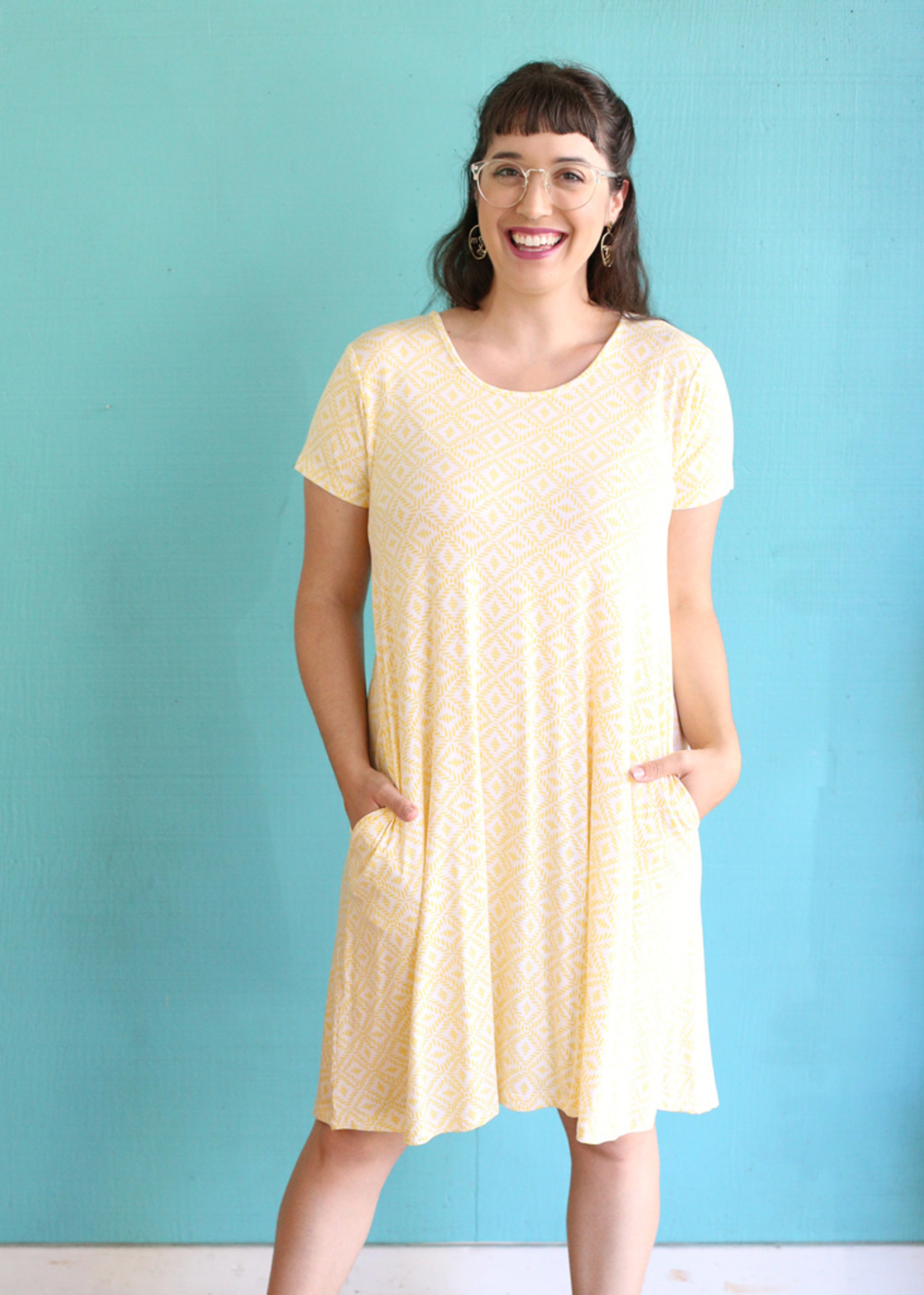 BYTAVI FINAL SALE Honeycomb Pocket Swing Dress