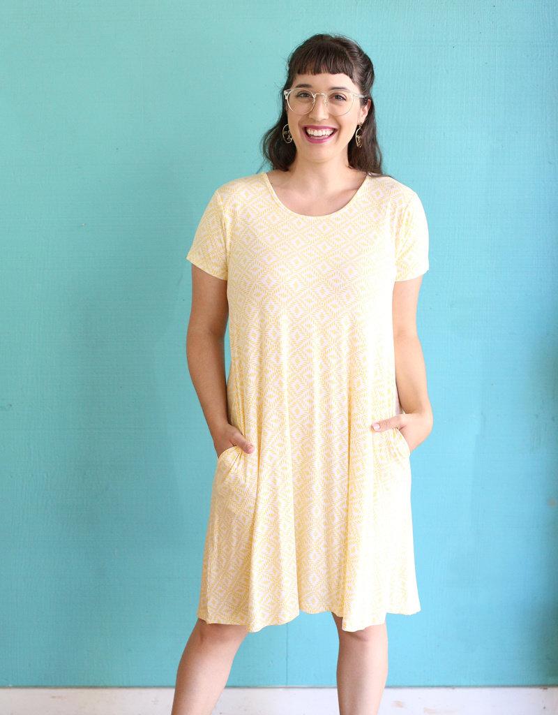 BYTAVI Honeycomb Pocket Swing Dress
