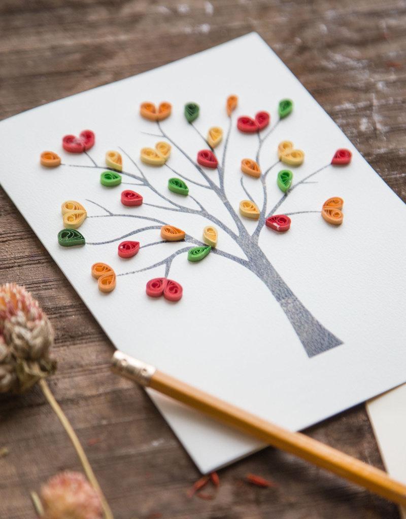 Mai Vietnamese Handicrafts Quilled Love Tree Card