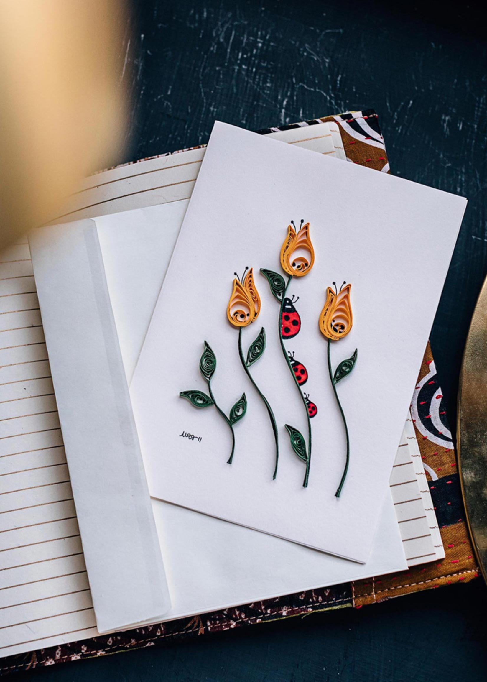 Mai Vietnamese Handicrafts Quilled Ladybug Flower Card