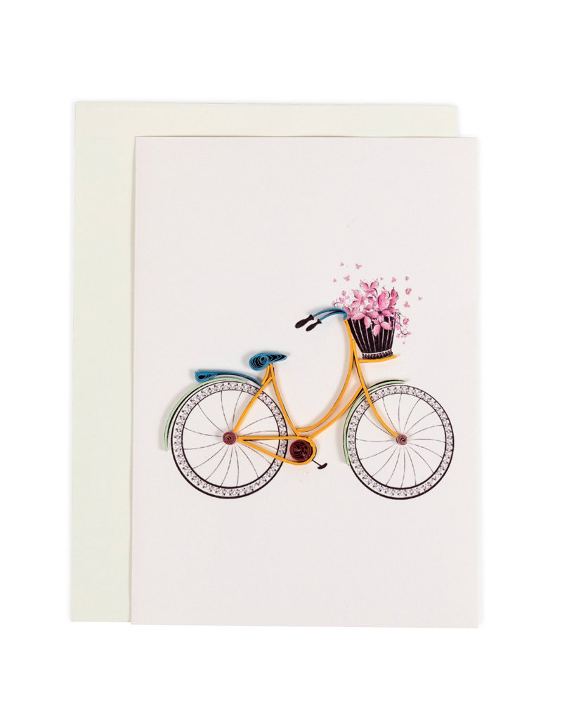 Quilled Bicycle Flower Basket Card