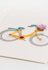 Mai Vietnamese Handicrafts Quilled Bicycle Flower Basket Card