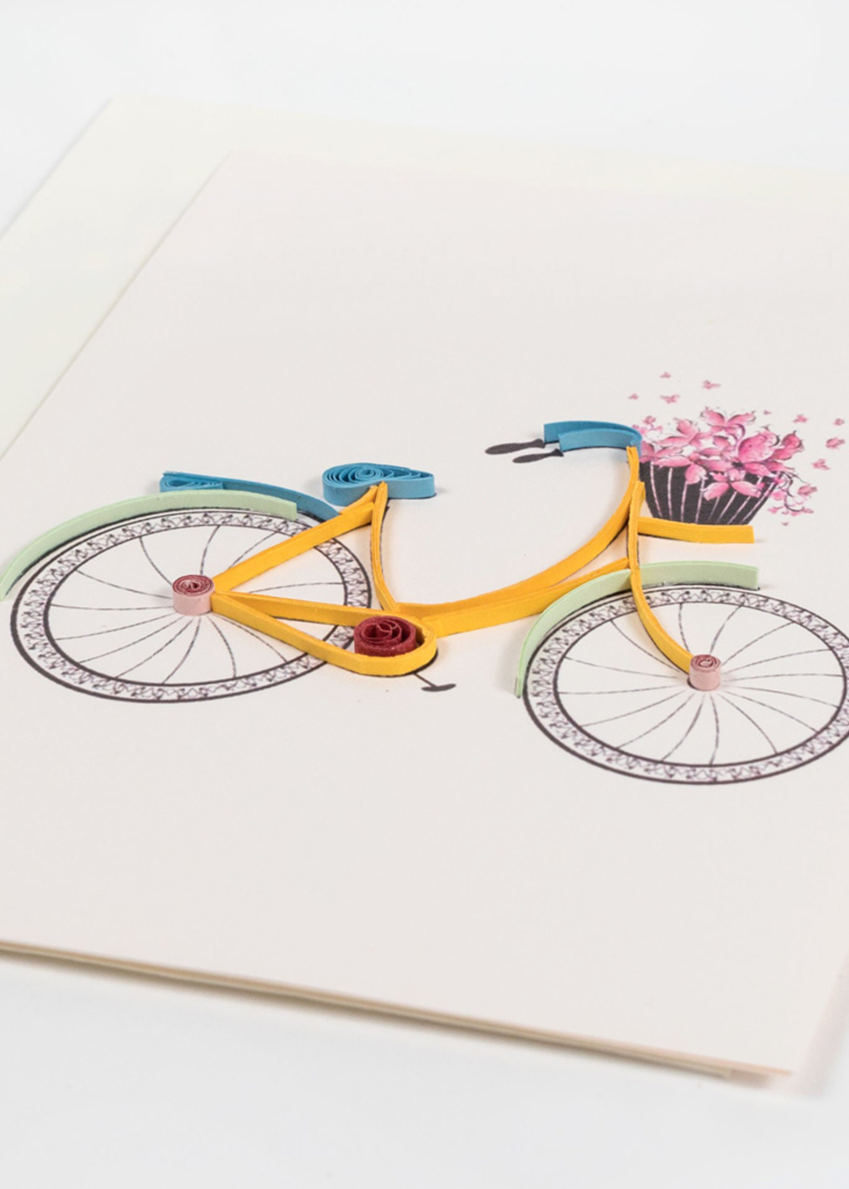 Mai Vietnamese Handicrafts Quilled Bicycle Flower Basket Card