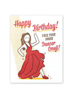 Good Paper Dancer Emoji Birthday Card